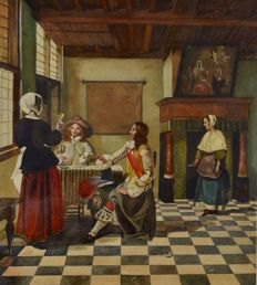 B. G. Waters after Pieter De Hooch (19th/20th century) - A lady with two cavaliers