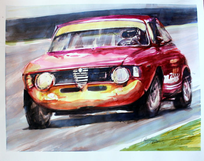 Alfa Romeo Giulia 1600 GTA - Race Cars -Original Watercolour -  35 x 50 cm -  By Gilberto Gaspar