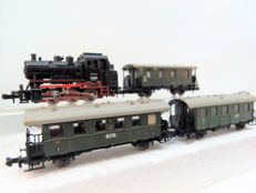 Minitrix N - 2043/3135/6/7 - Steam locomotive Series BR 89 with 3 passenger carriages of the DRG