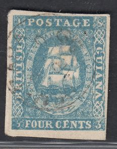 British  Guiana 1853 - 4 cents dark blue - Stanley Gibbons 18
