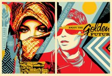 Shepard Fairey (OBEY) - Set of 2 - Golden Future for Some Diptych