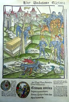 Gruninger Master; Virgil - Giunta Edition - Battle of Troy: the Aftermath [ Battle of Troje: de nasleep -  Bataille de Troie: les conséquences - Schlacht von Troja: Die Nachwirkungen ] - Hand colored - 1515