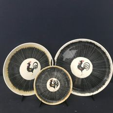 "Set of 3 Dinner Plates - Black Cock dishes series by ""Mancioli"", Limited Edition"