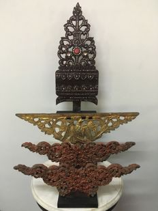 4 Beautiful Wooden Lacquered/Glass Inlaid Carvings. Mandalay period - Burma - second half 20th century.