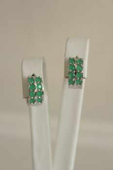 White gold earrings with natural emeralds - Length: 1.35 cm