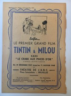 Hergé - Reclame bijlage Journal Tintin - Le crabe aux pinces d'or - Le premier grand film - (1947)