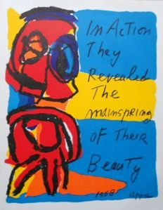 Karel Appel - In action they revealed the mainspring of their beauty (Student lithograph)