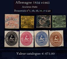 Germany: Former States: Brunswick 1852/1865 – Michel n°3 6b, 8b 10 and 17 to 20.