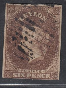 Ceylon 1857 - 6d dark brown - Stanley Gibbons 6B