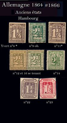 Germany: Old states: Hamburg 1864/1865 - Yvert no. 8, 9, 11, 12, and 16, 14, 22, and 23.