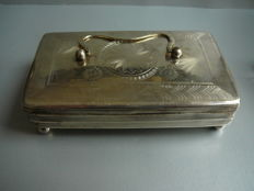 Silver jewellery box made from an antique silver tobacco box, 1840, the Netherlands