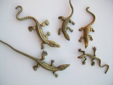 Five decorative copper lizards