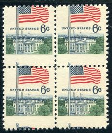 USA 1968 -  Flag above whitehouse in block of four - Scott 1338 misperforated