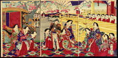 Woodcut triptych by Toyohara Chikanobu (1838-1912) - Japan - 1878