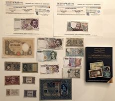 "Italy - Kingdom and republic - collection of 17 banknotes, some of them with COA certificate of authenticity + new catalogue ""La cartamoneta italiana 2017-2018"""