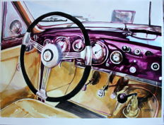 1949 Maserati 1500 Grand Turismo - cockpit - Original Watercolour - 40 x 50 cm - By Gilberto Gaspar