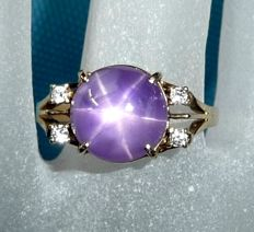 Ring made of 14 kt / 585 gold 7.6 ct natural star sapphire + 4 diamonds 0.12 ct, ring size 54 / 17.2 mm - adjustable