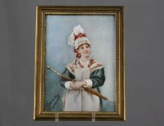 Miniature of a lady with parasol, painted on ivory, in a bronze frame, signed and dated 1895, French
