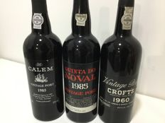 Vintage Port: 1960 Croft's & 1985 Calem & 1985 Quinta do Noval - 3 bottles in total