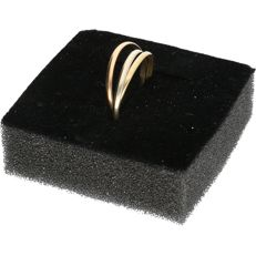 14 kt - tri-colour - consisting of 3 separate rings - ring size: 17.25 mm