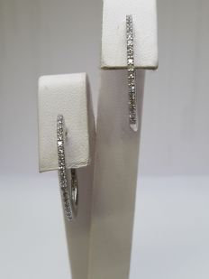 Giorgio Visconti 750‰ white gold Creole earrings with 40 diamonds weighing 0.20 ct, G–H colour, VS clarity