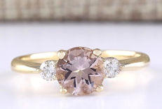 1.20 Carat Morganite And Diamond Ring In 14K Solid Yellow Gold - Ring Size: 7 *** Free Shipping *** No Reserve *** Free Resizing ***