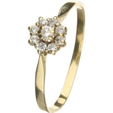 14 kt yellow gold rosette ring set with zirconias. - Ring size: 19 mm