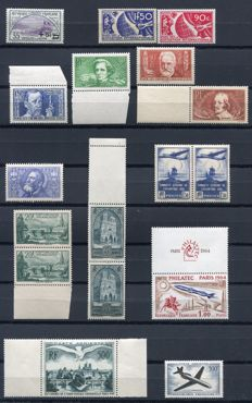 France 1922/64 – Selection de semi-classics with Air Mail and two pairs – Yvert 166, 326/27, 330/33, 319, 320 (2x), 394 (2x), 259 (2x), 1422,  PA 20, 40