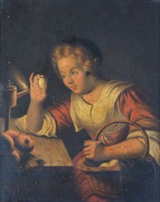 Manner of Godfried Van Schalcken (18th century) - Checking the eggs