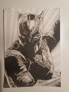 Louis Paradis - Original Signed Drawing - Black Panther - Marvel Comics (2011)