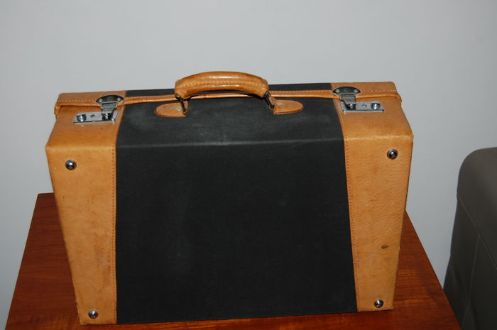 Vintage leather and linen travel case, Italy, ca. 1980