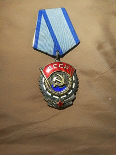 The red flag labor medal from The Soviet Union