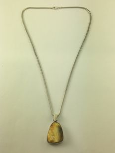 925 silver necklace, amber pendant