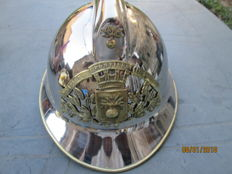 Superb firefighter helmet made of stainless steel from 1933.