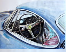 Ferrari 250 GT SWB Berlinetta Speciale Bertone 1962 - Cockpit - Original Watercolour - 40 x 50 cm - By Gilberto Gaspar