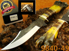 Handmade 33 CM Carbon Steel Hunting Knife with Leather Sheath