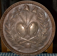 Hammered copper tray, representing the emblems of the French revolution