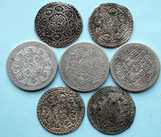 Nepal - 1 and 1.5 Mohar (7 pieces) - silver