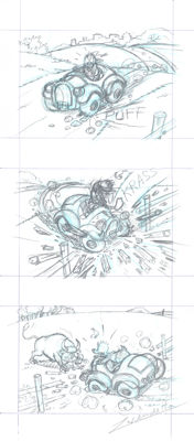 Vendetta, Z. - Original Pencil Triptych -  Donald Duck's Car Crash