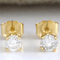 14k Yellow Gold Stud Earrings Set with 0.40 ct Diamond - *no reserve*