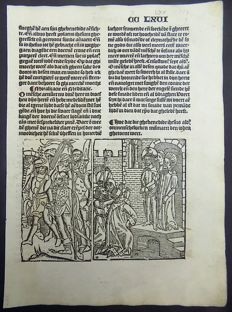 "Master of Delft - Incunabula leaf with large woodcut from Vitae Christie: Christ Arrested: Hoe dat die ghebenedide ihesus aldonmenschelucken mismaect den ioden ghetoent wert"" - 1488"
