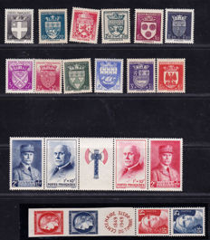 France 1906/1949 – Selection of 60 stamps – between Yvert 135 and 833