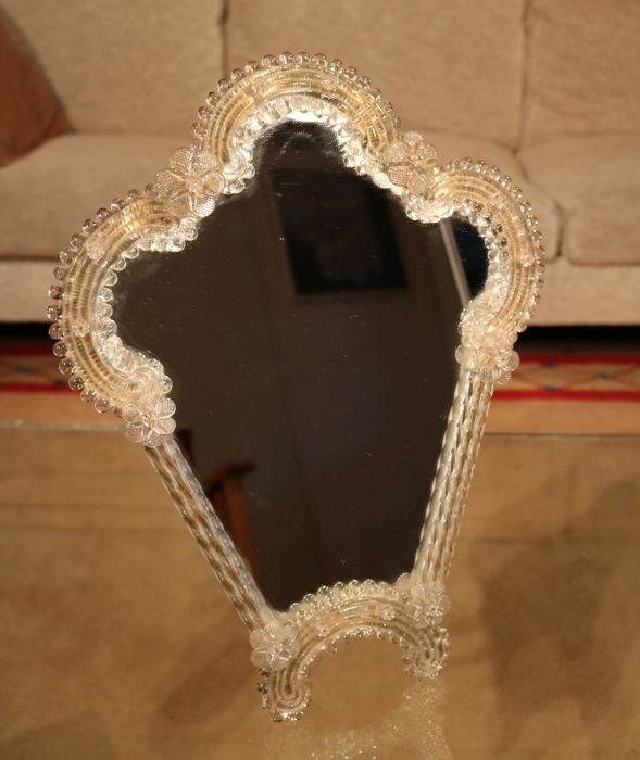 Beautiful vintage glass table mirror - approx. 1950 - Italy