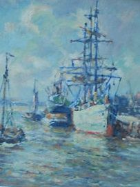 Evert Moll (1878-1955) - Rotterdams havengezicht