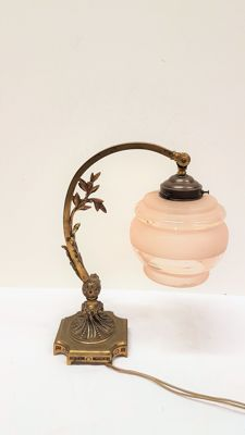 Brass/bronze desk lamp with glass powdered glass, France, 20th century