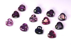 Multicolor sapphire - Lot (12) - 3.07 ct in total
