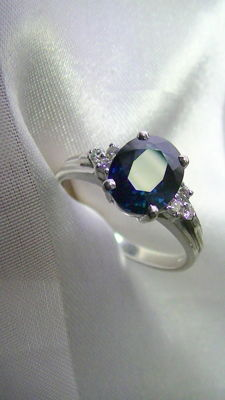 Sapphire Diamond Ring Solid 750 White Gold