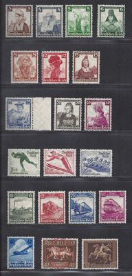 German Reich 1935/1938 - Various issues - Michel 580/583, 588/597, 600/602, 603, 649 and 671
