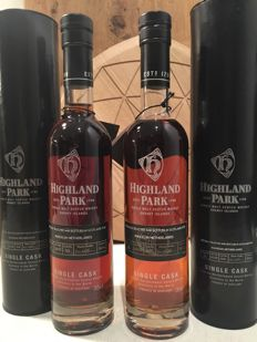2 bottles - Highland Park 12 Single Cask (individually numbered)
