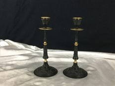 Pair of candlesticks in brass, black and gold patina - France - end 19th